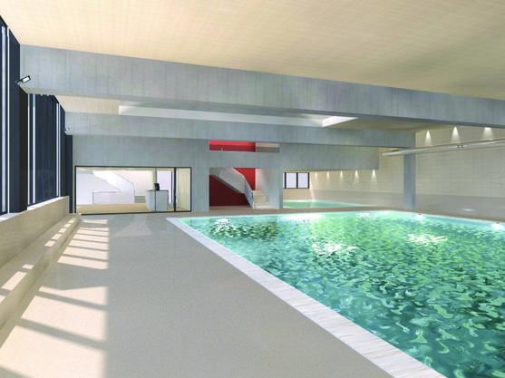 So sieht das fertige Hallenband von innen aus: Vorne das grosse Schwimmbecken, hinten rechts der Lehrschwimmbecken.