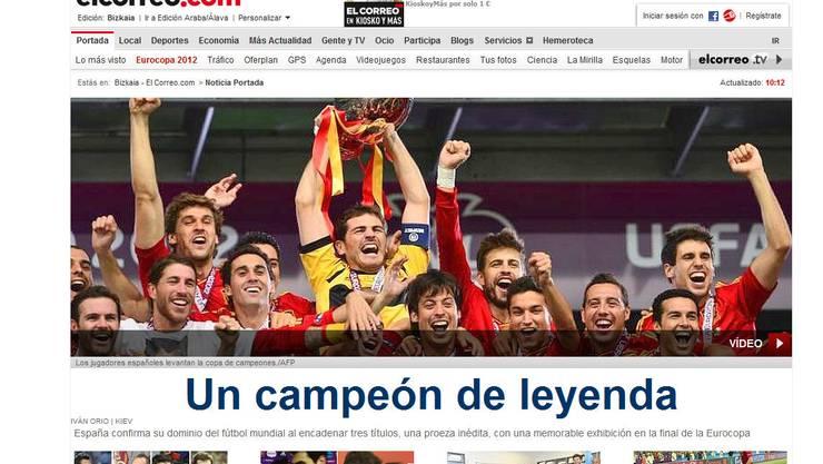«El Correo» titelt am Morgen nach dem Sieg Spaniens: Ein Meister der Legende
