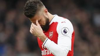 Enttäuschung bei Arsenal (hier Olivier Giroud) nach dem 1:1 gegen Tottenham