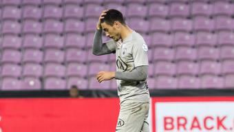 Mikael Almeida nach einem Spiel für den FC Aarau.