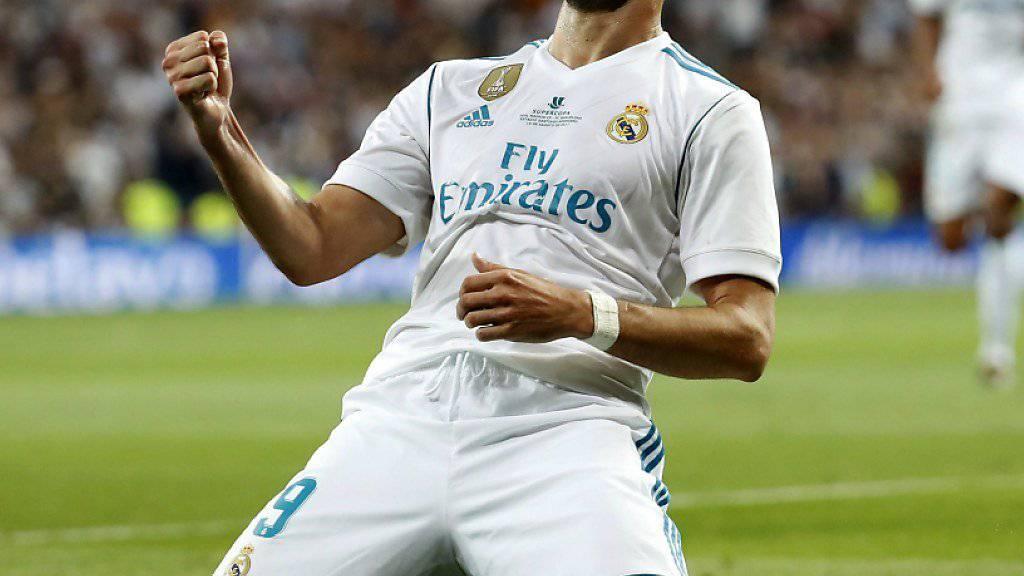 Brillierte mit dem technisch feinen Treffer zum 2:0 gegen Barcelona: Real Madris Stürmer Karim Benzema