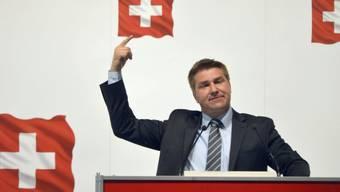 SVP-Parteipräsident Toni Brunner an der Delegiertenversammlung