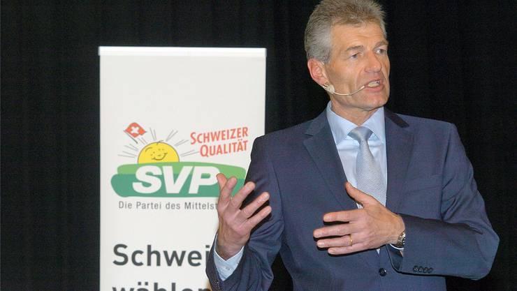 Heinz Karrer, noch CEO der Axpo Holding, am Zurzibieter SVP-Jahresauftakt: «Wir nehmen die Sicherheit sehr ernst und werden daran auch nichts ändern.» Angelo Zambelli