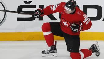 Fabrice Herzog bejubelt seinen Treffer gegen Finnland. Der Stürmer ist die Entdeckung des Turniers