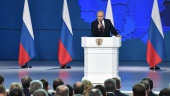 Der russische Präsident Wladimir Putin bei seiner 15. Rede an die Nation.