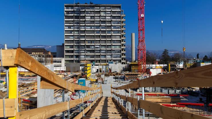 Auf der Baustelle des Bürgerspitals Solothurn (März 2016)
