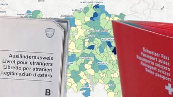 Wo im Aargau die meisten Ausländer leben und wo im Aargau am meisten eingebürgert wird