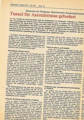 Im «Badener Tagblatt» vom 31.März 1982 kritisiert der Windischer Gemeinderat den Strassenrichtplan.