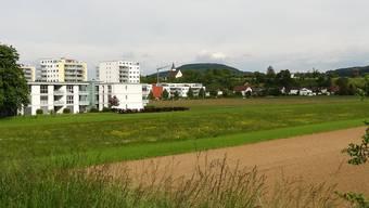 Direkt vor diesen Wohnhäusern unterhalb des Bahnhofs Möhlin liegt das im Richtplan vorgesehene erweiterte Siedlungsgebiet Rheinfeldens.