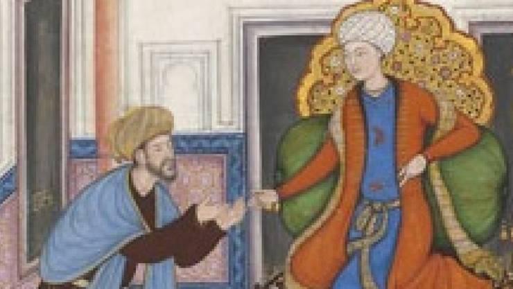 Ausschnitt aus einer Illustration, die vor mehreren hundert Jahren am Hof der indischen Moguln entstanden ist und nun im Museum Rietberg in Zürich zu sehen ist (Bild Museum Rietberg).