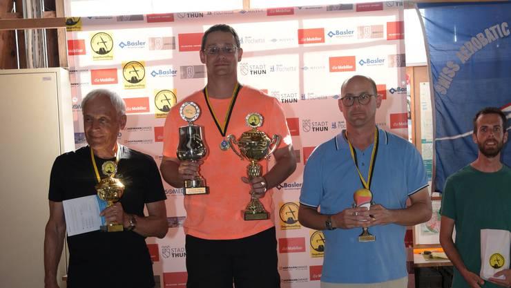Das Podest der Kategorie Advanced: von links, Manfred Echter, Christian Syfrig, Schweizermeister Markus Annaheim.