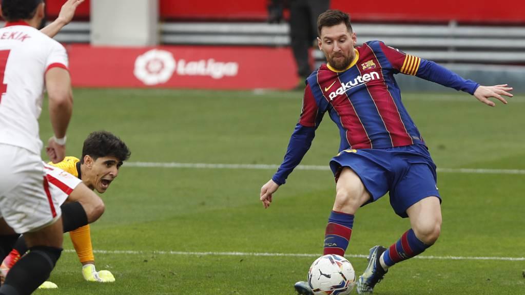 Lionel Messi entscheidet mit dem 2:0 kurz vor Schluss die Partie in Sevilla zugunsten des FC Barcelona.