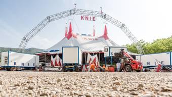 So präsentiert sich die Zeltkonstruktion des Zirkus Knie in diesem Jahr (wie hier in Wettingen AG): Wegen des neuen Rundbogens über dem Zelt ist das Schützi-Areal zu klein. Nächstes Jahr kommt ein zweiter Rundbogen dazu.