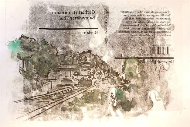Die Skizze für das von Solange gestaltete Cover. Es ist spiegelverkehrt, weil bei der Monotypie auf die Rückseite gezeichnet wird.