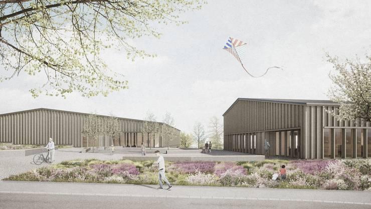 Die Visualisierung zeigt, wie der Ersatzbau für das Mehrzweckgebäude und die neue Turnhalle aussehen könnten.