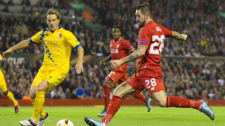 Danny Ings (in rot) 2015 im Europa-League-Spiel mit Liverpool gegen den FC Sion
