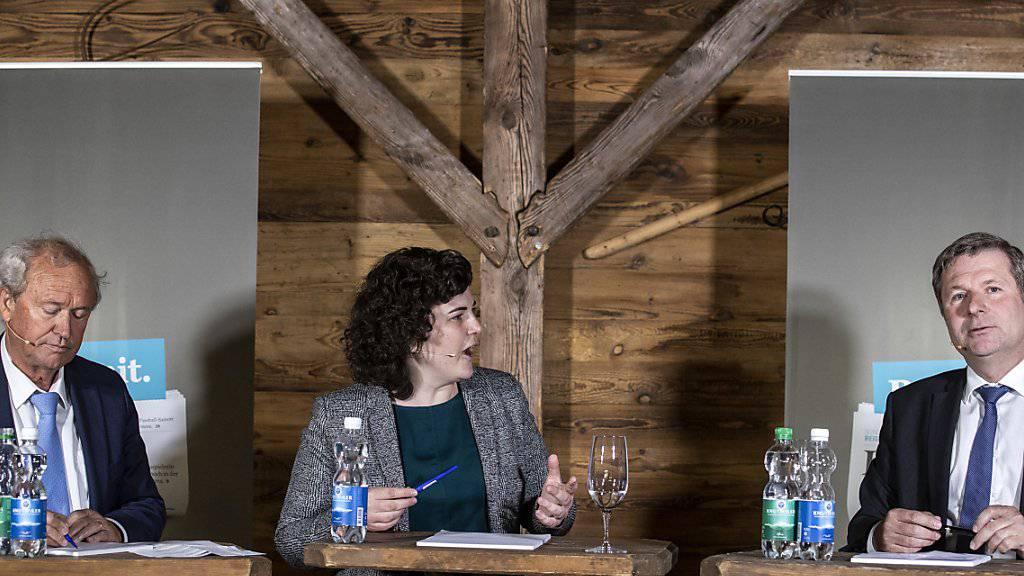 Drei Kandidierende für zwei Sitze: Paul Winiker, Korintha Bärtsch und Marcel Schwerzmann wollen Luzern regieren. (Archivbild)