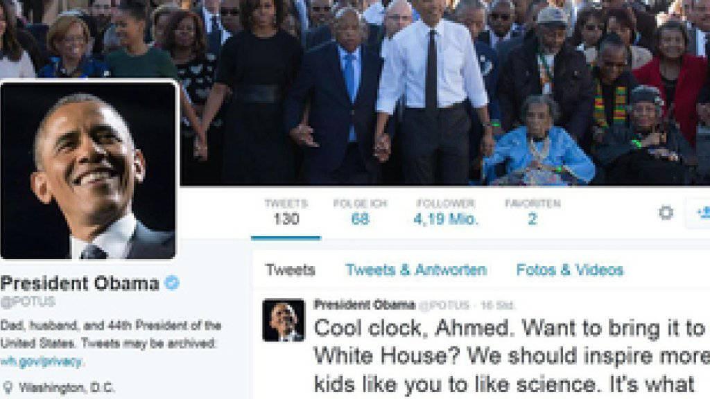 Twitter-Account des US-Präsidenten Barack Obama mit dem Tweet, mit dem er den 14-jährigen Ahmed Mohamed, dessen selbst gebaute Uhr in einer texanischen Schule mit einer Bombe verwechselt wurde, ins Weisse Haus einlädt (Screenshot dpa)