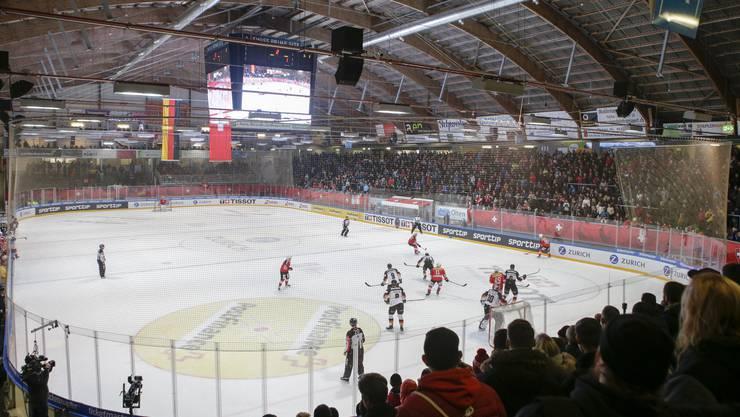 """Eine talentierte """"Prospect""""-Nationalmannschaft im Oltner Kleinholz im Einsatz gegen Deutschland."""