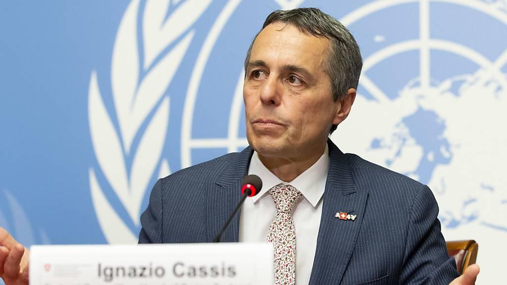 Cassis stellt Slogan zu Kandidatur für Uno-Sicherheitsrat vor