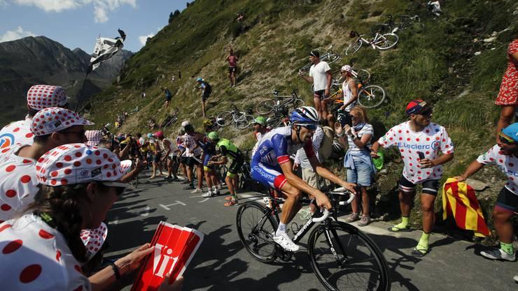 Thibaut Pinot, bester Kletterer und die Hoffnung der französischen Anhänger.  (Christophe Ena/AP (Tourmalet, 20. Juli 2019))