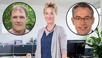 Die beiden neuen Kandidaten Peter Hochuli (links), Uwe Matthiessen (rechts) und alt Regierungsrätin Susanne Hochuli.