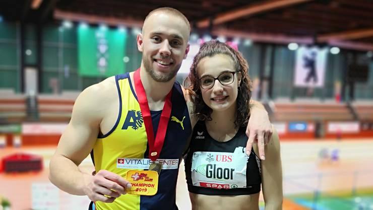 Silvan Wicki und Michelle Gloor nach ihrem erfolgreichen Auftritt an der Hallen-SM.