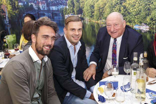 Der zurückgetretene FCB-Regisseur Matias Delgado, Stephan Wullschleger, Leiter Verkauf & Beratung beim FCB, sowie «HESO-Stammgast» und Spielerlegende Karli Odermatt