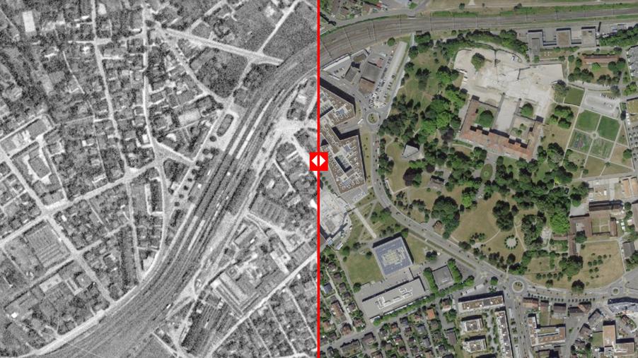 Virtuelle Zeitreise von 1946 nach 2019. Der rote Regler geht mitten durch den heutigen FHNW-Campus Brugg-Windisch. Screenshot von map.geo.admin.ch