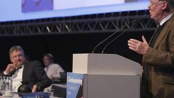 Die AfD hat auf ihrem Parteitag den EU-Abgeordneten Jörg Meuthen (l) und Bundestagsfraktionschef Alexander Gauland an die Parteispitze gewählt. Damit ist sie weiter nach rechts gerückt.