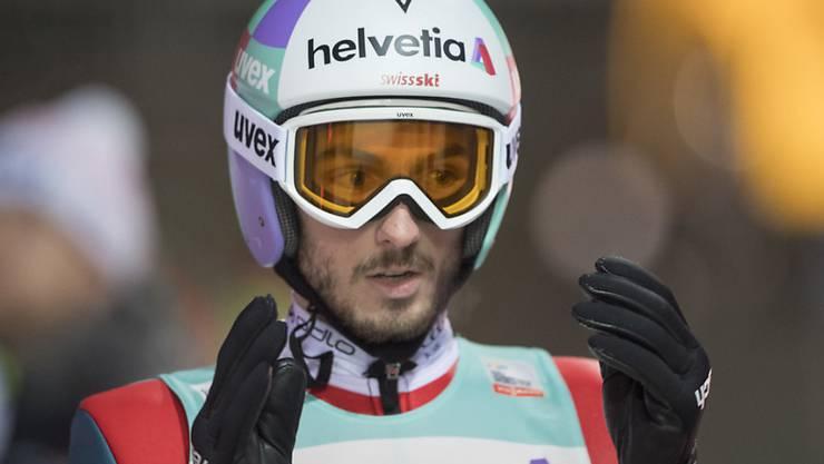 Kilian Peier ist nach der Landung mit seinem Sprung zufrieden