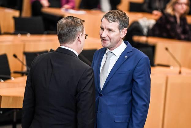 Ramelow und Höcke nach der Wahl im Gespräch.