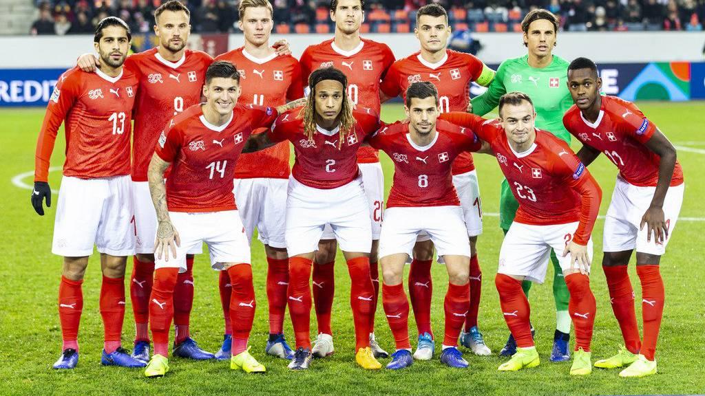 Die Schweizer Nati vor dem Nations-League-Spiel gegen Belgien im November 2018.