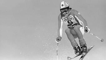 Der Schweizer Skirennfahrer Bernhard Russi am 26. Januar 1975 am Lauberhornrennen.