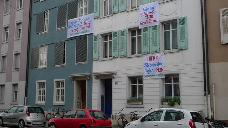 Der Protest im Gundeli gegen die neue Busführung.