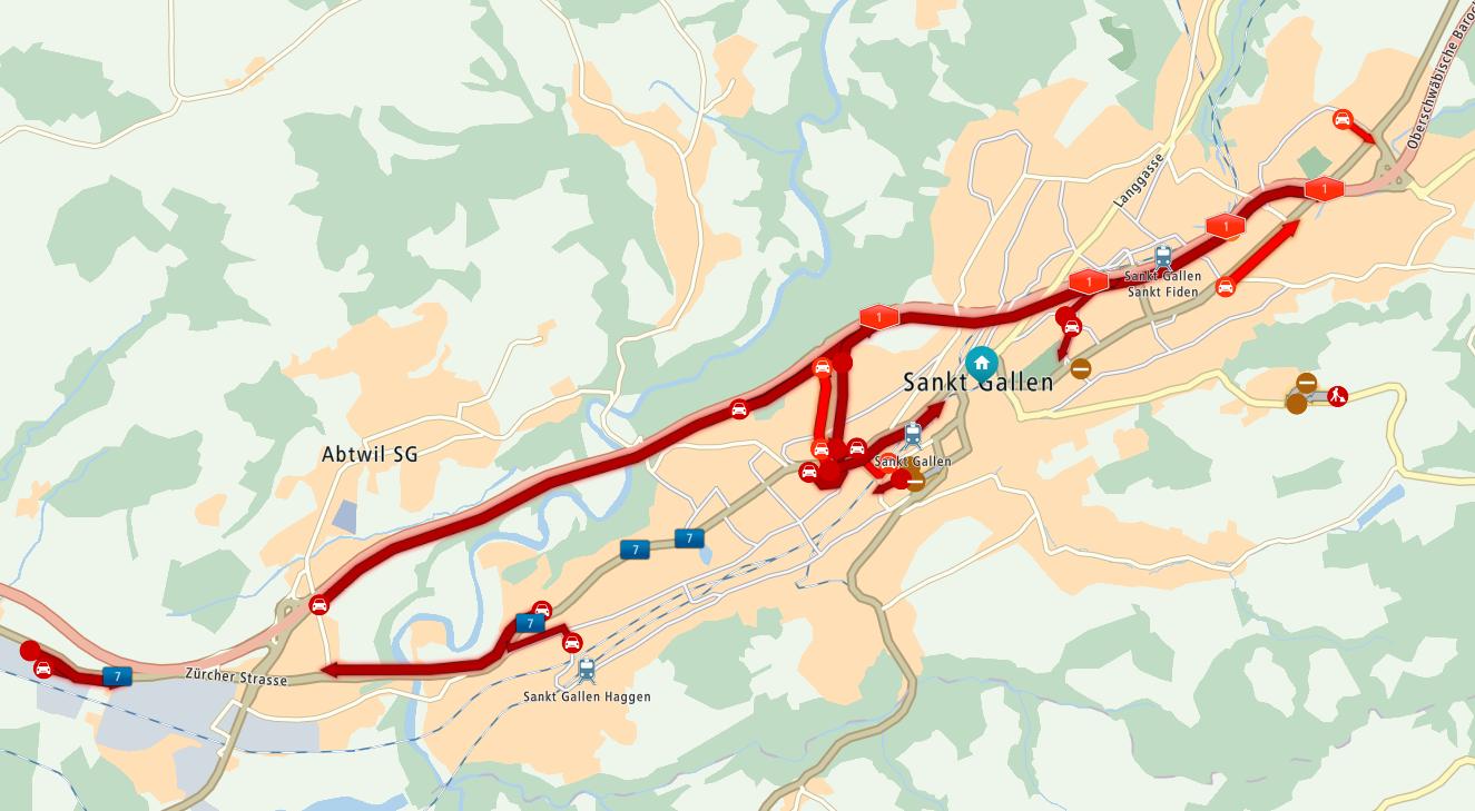 Auf der A1 in Richtung St.Margrethen staut es. (Stand: 18.15 Uhr)