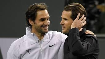 Aus Konkurrenten sind längst Freunde geworden: Roger Federer und Tommy Haas, der inzwischen Turnierdirektor in Indian Wells ist.