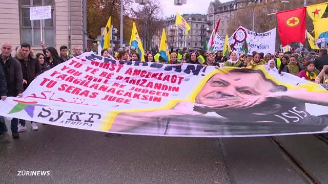 Über 1000 Kurden demonstrieren in Zürich gegen Erdogan