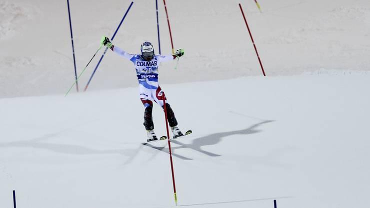 Luca Aerni auf dem Weg zu seinem 5. Platz in Madonna di Campiglio.