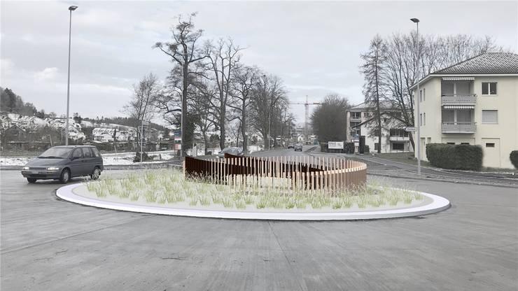 Die geplante Kunst auf dem neuen Kreisel in Urdorf soll an Weidezäune erinnern. Visualisierung: zvg