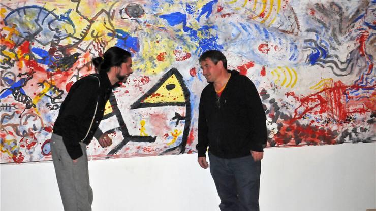 Klaus Büsen (links) und Bruno Schlatter haben erst nach der Fertigstellung über ihre Werke diskutiert.