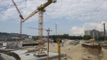 Baustelle in Biel, wo Radium aus Uhrenindustrie lagerte (Archiv)