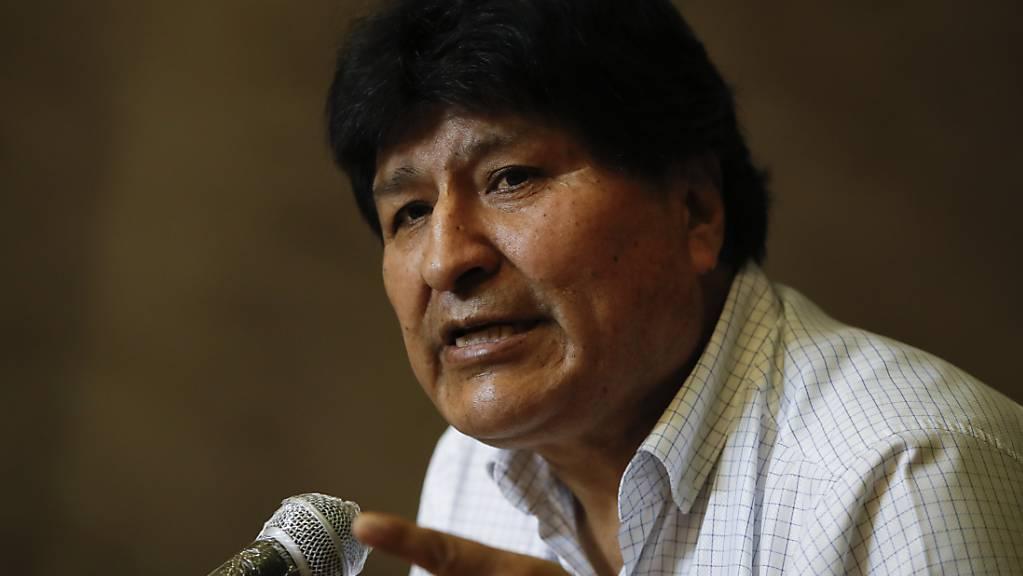 Evo Morales, ehemaliger Präsident von Bolivien, spricht bei einer Pressekonferenz.