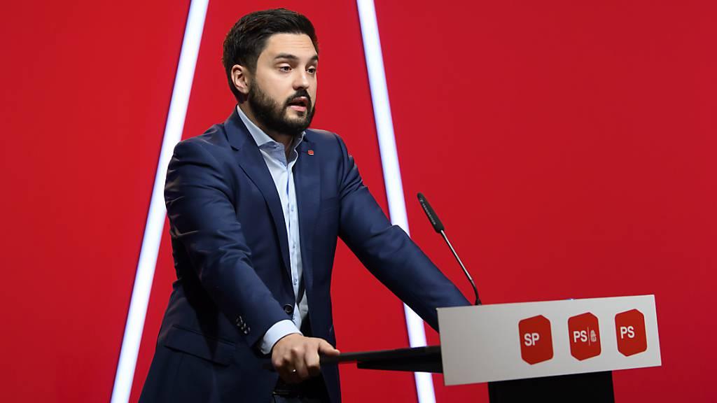 SP-Co-Parteipräsident Cédric Wermuth an der Online-Delegiertenversammlung.