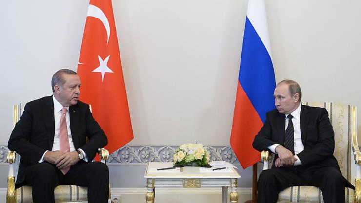 Das Treffen des russischen Präsidenten Wladimir Putin mit dem türkischen Präsidenten Recep Tayyip Erdogan fand in St. Petersburg statt. (Alexei Nikolsky/Sputnik, Kremlin Pool Photo via AP)