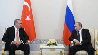 Das Treffen des russischen Präsidenten Wladimir Putin mit dem türkischen Präsidenten Recep Tayyip Erdogan fand in St. Petersburg statt. (Alexei Nikolsky/Sputnik, Kremlin Pool Photo via AP)