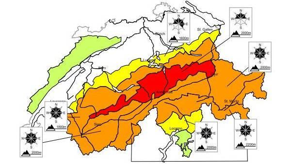 Die aktuelle Lawinengefahr: Rot eingefärbt in der Grafik ist die zweithöchste von vier Warnstufen.