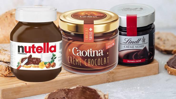 Soll Ferrero Kunden abjagen: Die neue Nutella-Alternative von Caotina (Mitte).