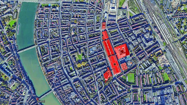 Im Umfeld des Messeplatzes gehören momentan sechs Gebäude (rot eingefärbt) der MCH Group, dies könnten bald schon weniger sein. Der Messeturm gehört nicht der MCH, sondern der Immobilien-Firma Swiss Prime Site.