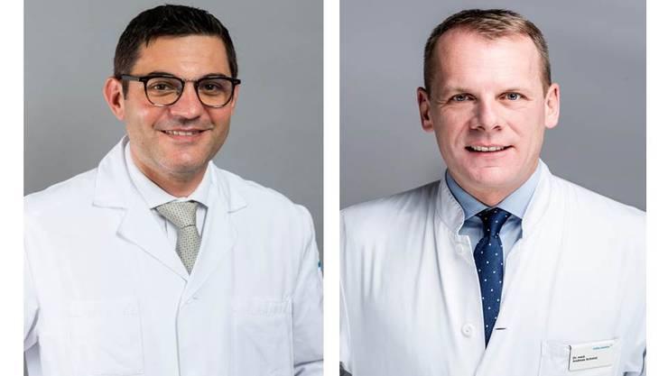 Arbeiten in Zukunft zusammen: Prof. Dr. med. Antonio Nocito, Direktor Departement Chirurgie am KSB (li.), und Dr. med. Andreas Christoph Schmid vom Viszeral Zentrum der Hirslanden Klinik Aarau.